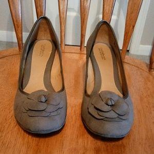 Gray suede pumps